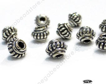 10 pcs 5mm Bali Sterling Silver Handmade Spacers Beads Oxidized S01