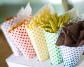 48 polka dot paper cones - red, green, yellow, blue or purple