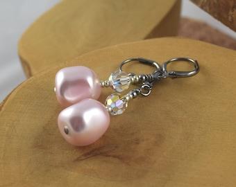 Rosaline Pink Go For Baroque Swarovski pearl and crystal gunmetal leverback earrings