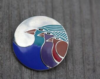 VINTAGE Laurel Burch CELESTIAL BIRD pin / brooch