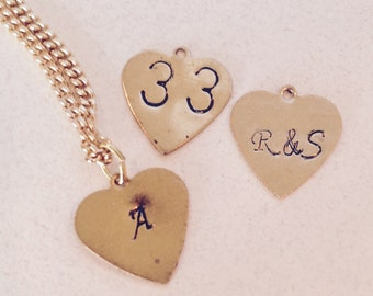 Gold Initial Necklace, Hand Stamped Initial Necklace, Heart Stamped Initial, Heart Initial Necklace, Kids Initial Necklace, initial pendant