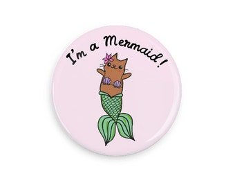 Cute Pin back Button Mermaid Cat Merkitty Cat Pin Collection I'm a Mermaid Magnet Pink Button Pin Badge Pinback