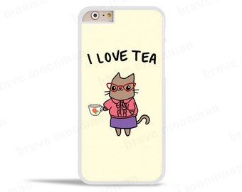 iPhone 6s Case Cat Eye Glasses Vintage Tea Lovers Gift Cute Cat I Love Tea Samsung Galaxy S7 Case