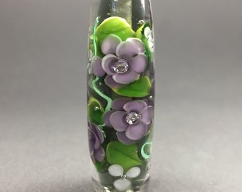 Sparkling Lavender Floral Bead...Encased Floral Glass Bead, Handmade by Highland Beads