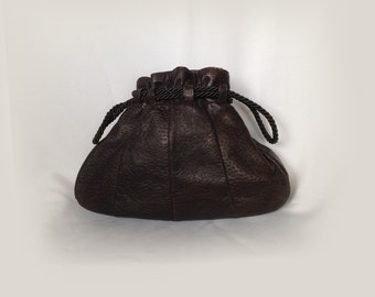 Vintage Bag, Pouch, Drawstring, Purse, Brown Leather, 1960's, Boho, Hipster, Hippie