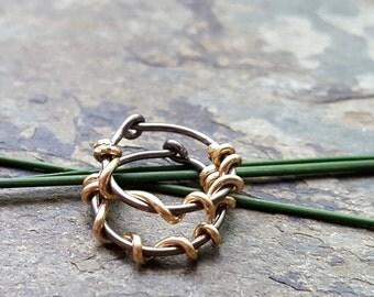 20g vine hoops-- custom hoop earrings-- primitive series-- handmade by thebeadedlily