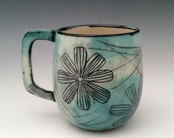 Ceramic Mug Floral Pattern Pottery Cup