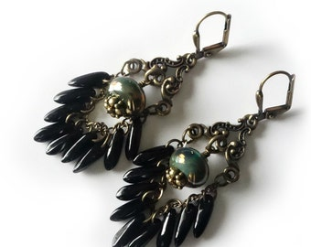 Lampwork Dagger Earrings, Black Glass Daggers, Iridescent Green Lampwork Beads, Antique Brass, Chain, Beaded Jewelry, Beaded Earrings