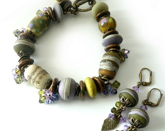 Lampwork Bracelet and Earrings,  Lavender, Olive Green, Cream, Sand, Antique brass, Crystals, Two Piece Set, Leaves, Rustic Beaded jewelry