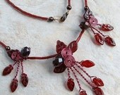 ON SALE Red Fairy Elven Forest Triad Necklace