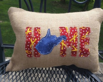 Home WEST VIRGINIA WV embroidered burlap pillow - 12x18