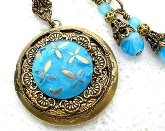 Aqua Blue Glass Button Locket Pendant with Earrings - Antiqued Brass Locket Pendant