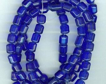 CLEARANCE 7x10mm Royal Blue Barrel Glass Beads