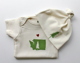 Love from WA State Organic Onesie and Hat Set-Designed and Handprinted in Seattle-Baby Shower Gift-WA Pride-Made in USA