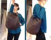 Pretty Pocket Tote- Made of Recycled Brown Leather
