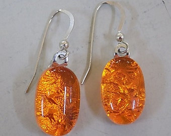 Orange Ice Fused Dichoic Glass Dangle Earrings - Art Glass Jewelry