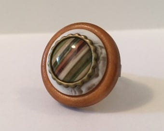 Rustic Stripes - Stacked Button Ring