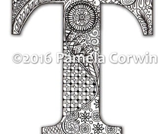 T Monogram Coloring Page