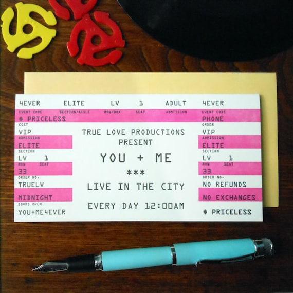 letterpress love rock concert ticket greeting card you + me 4ever hot pink black white