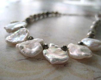 Pearl Necklace, Keishi Pearls, Pyrite Gems, Labradorite Gems, Ethiopian Beads, Sterling Silver, Rolo Chain, Cornflake Pearls, candies64