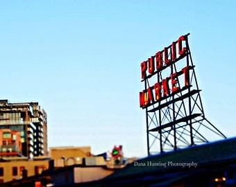 Seattle Photo // Seattle Art // Pike Place Market Photo // Public Market Neon Sign // Urban Decor Wall Art // Fine Art Travel Photography