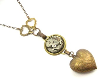 Three Hearts ... Steampunk Heart and Watch Movement One of A Kind Creation