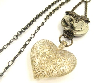 Etched Heart   ... Steampunk Vintage Etch Heart and Watch Movement One of a Kind Creation