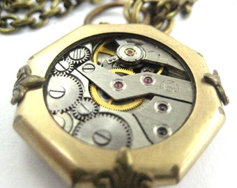 Minimal Gold ... Steampunk Watch Movement Victorian One of a KInd