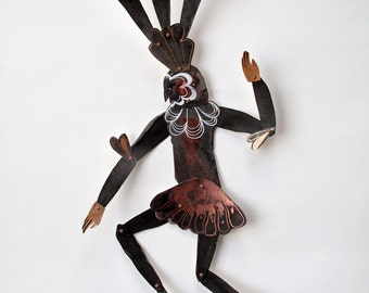 Copper Dancing Bird Lady Original Paper Doll Articulated / Hinged Beasts Series