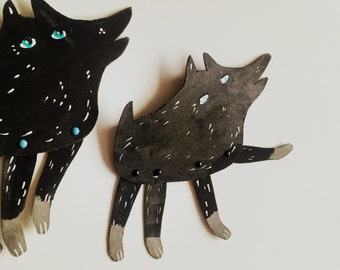 Black and Blue Eyed Canine  / Little addition Articulated Decoration  / Hinged Beasts Series
