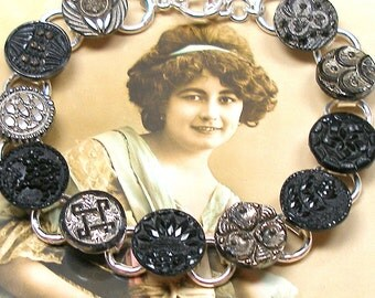 "Lacy BUTTONs bracelet, Victorian black glass 7.5"" silver bracelet. One of a kind jewellery."