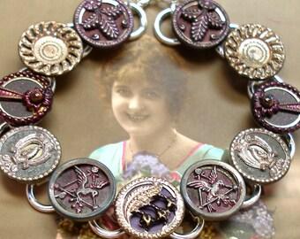 """Antique BUTTON bracelet, Victorian BIRDS & flowers, 7.5"""" Antique button jewellery, jewellery."""