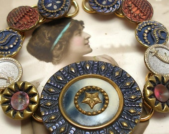 "Wish, Antique BUTTON bracelet, Victorian shooting STARS & flowers in red white blue. 8.25"" jewellery."