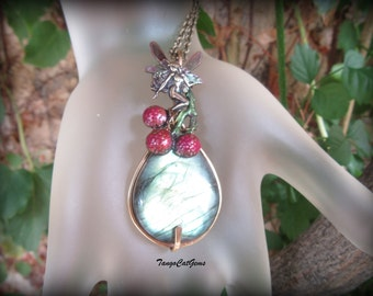 Fairy Labradorite Pendant Necklace Teal Berry Hand Painted