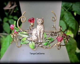 Cat Bracelet and Ring  Hand Painted Wire Wrap kitty In The Garden