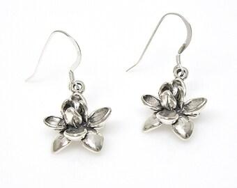 Sterling Silver Earrings Lotus Flower Dangle Ear Wires no. 2006 EW
