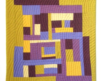 "Quilted Wall Hanging. 15"" x 17"". Small Art Quilt. Mini Scrap Quilt. Yellow and Purple Quilt. Modern Quilt. Quilted Wall Art. Improv Quilt."