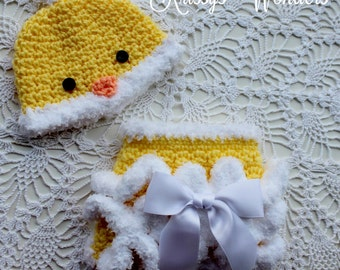 Crochet Hat Pattern -  Chicken Hat - Diaper Cover - Crochet Soaker - Chicken Diaper Cover Pattern - KrissysWonders