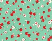 HALF YARD - Red Strawberries & Apples on GREEN 31282-60 - Retro 30s Child Smile Collection Lecien - Cherries, Red Cherry, Flower