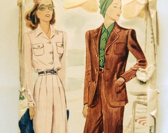 Vintage 40s Sewing Pattern Suit Slacks and Blouse McCall 4041 Pants Trousers WW2 Era Rockabilly 32 Bust