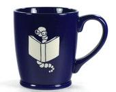 Bookworm Mug - cute nerdy coffee cup - Choose Your Color