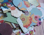 100 LARGE Paper Die Cuts for DIY Embellishments Various Shapes Paper Punches Bright Prints