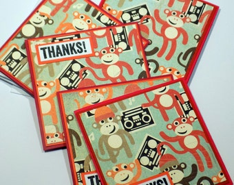 Monkey Boom Box 3 X 3 Mini Note Card Set Thank You Square Greeting Cards Hand Stamped