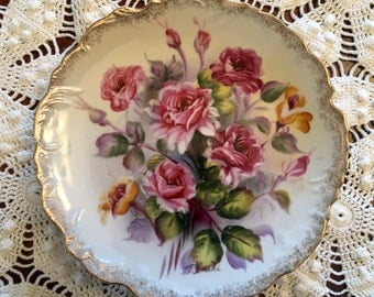Vintage Collector's Plate - Pink Roses - Gold Trim -  Ucagco Ceramics Japan - Wall Decor