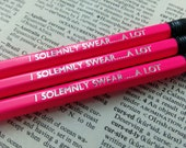 Harry Potter Hogwarts I Solemnly Swear....A Lot Hand Stamped Neon Pencils - Set of 3 HB Pencils Stationery Set