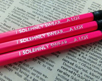 Harry Potter I Solemnly Swear....A Lot Hand Stamped Neon Pencils - Set of 3 HB Pencils Stationery Set