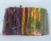 Scrap Fiber Ribbon Yarn Green Purple Embellishments 1261