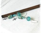 On Hold for RD- Statement tribal earrings - Long turquoise earrings - Cross earrings - African glass earrings - Recycled glass earrings