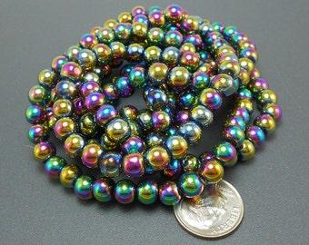 50 Metallic Rainbow Glass Beads 6mm (H2141)