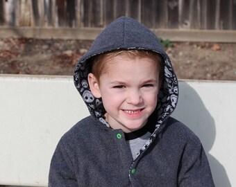 30% OFF Reversible Fleece Hoody Jacket - Hood or Collar - Boys Girls 2 to 12 years
